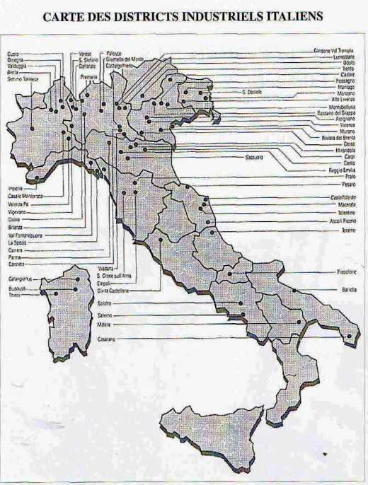 Carte des districts industriels italiens