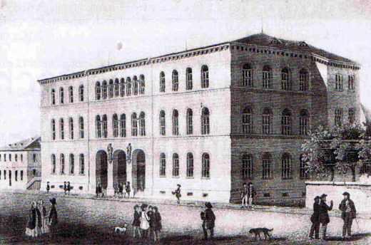 Bâtiment central de la Polytechnische Schule Karlsruhe autour de 1825.