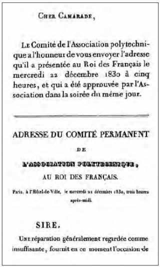 Adresse au Roi par Auguste Comte