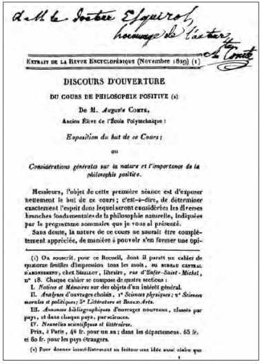 Discours d'ouverture du cours de philosophie positive d'Auguste Comte