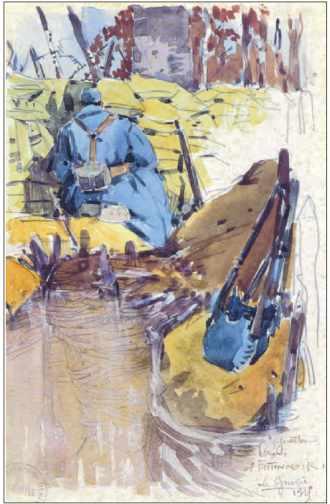 Mathurin Méheut, Guetteur dans l'entonnoir, 1915.
