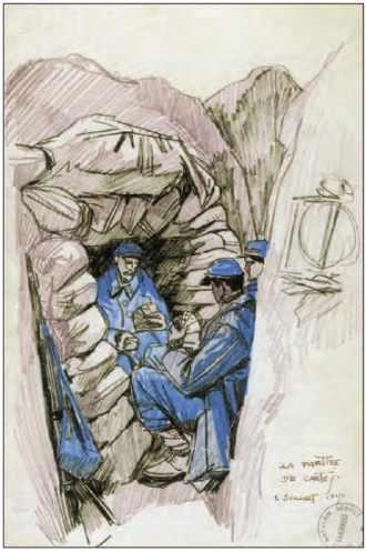 Mathurin Méheut, Poilus dans les abris, la partie de cartes, 1915.