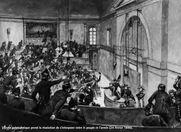 L'École polytechnique prend la résolution de s'interposer entre le peuple et l'armée (24 février 1848).