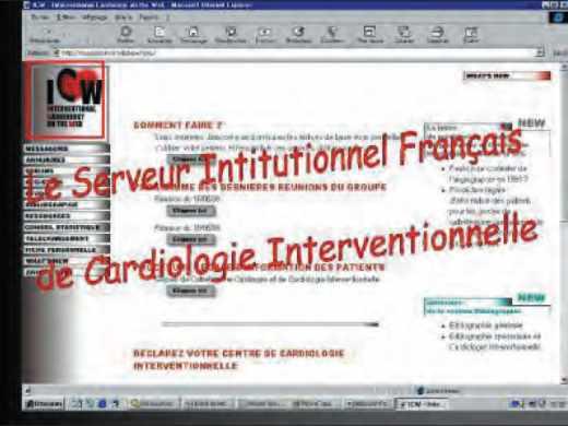 Page d'accueil du serveur ICW, organe de communication de cardiologie