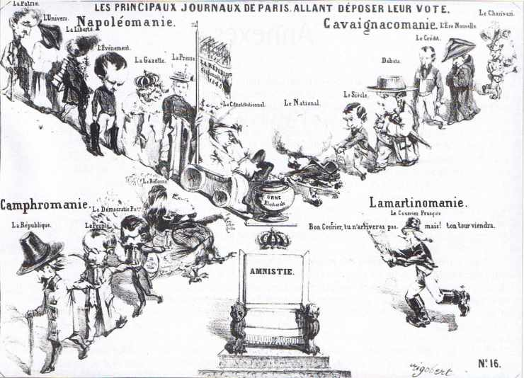 Gravure satirique figurative des tendances des différents journaux parisiens avant l'élection présidentielle du 10 décembre 1848