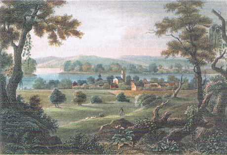 New Harmony ( Indiana, Amérique du nord), lithographie du XIXe siècle.