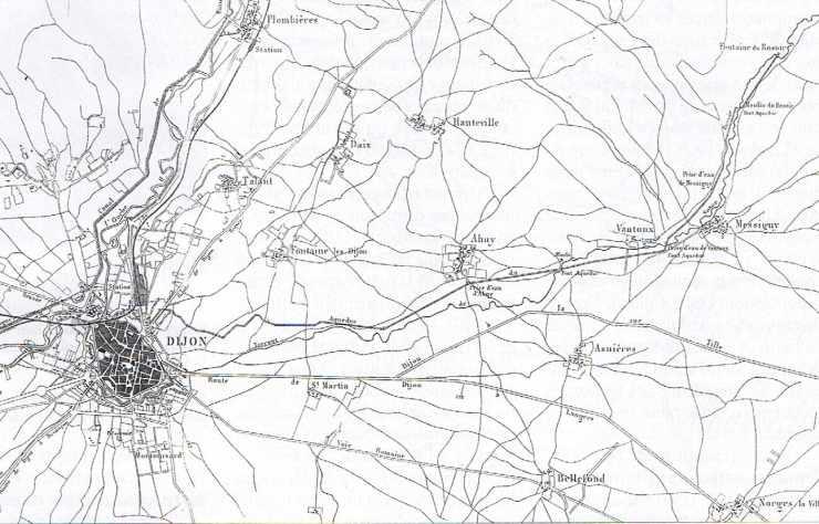 Alimentation en eau de Dijon : carte de l'aqueduc du Rosoir.