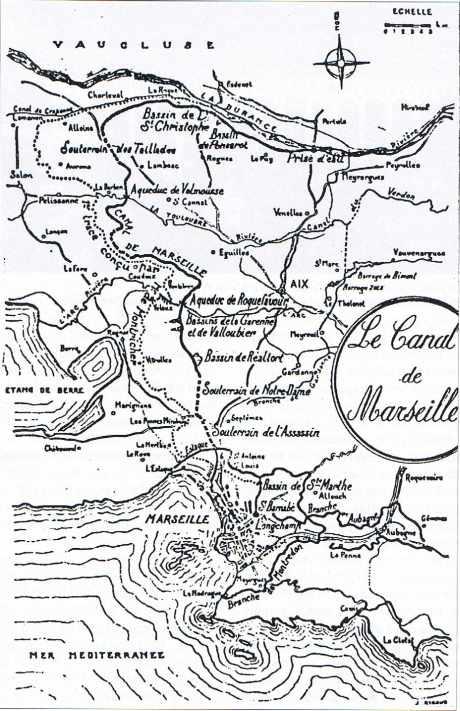 Le canal d'alimentation en eau de Marseille depuis La Durance