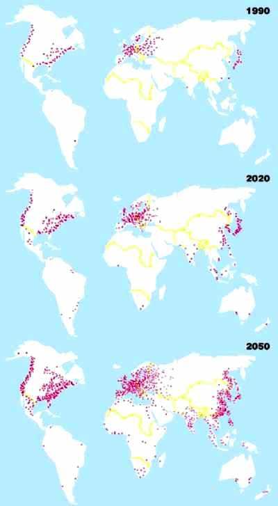 Dissémination régionale des centrales nucléaires dans le. scénario IIASA A1