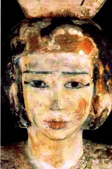 Porteuse d'auge egyptienne : statue polychrome en bois, Moyen Empire, Musée du Louvre.