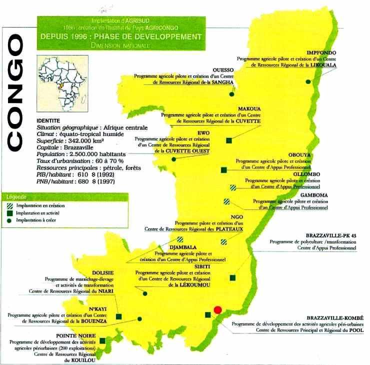Carte du Congo : Implantations de cultures maraîchère par Agrisud