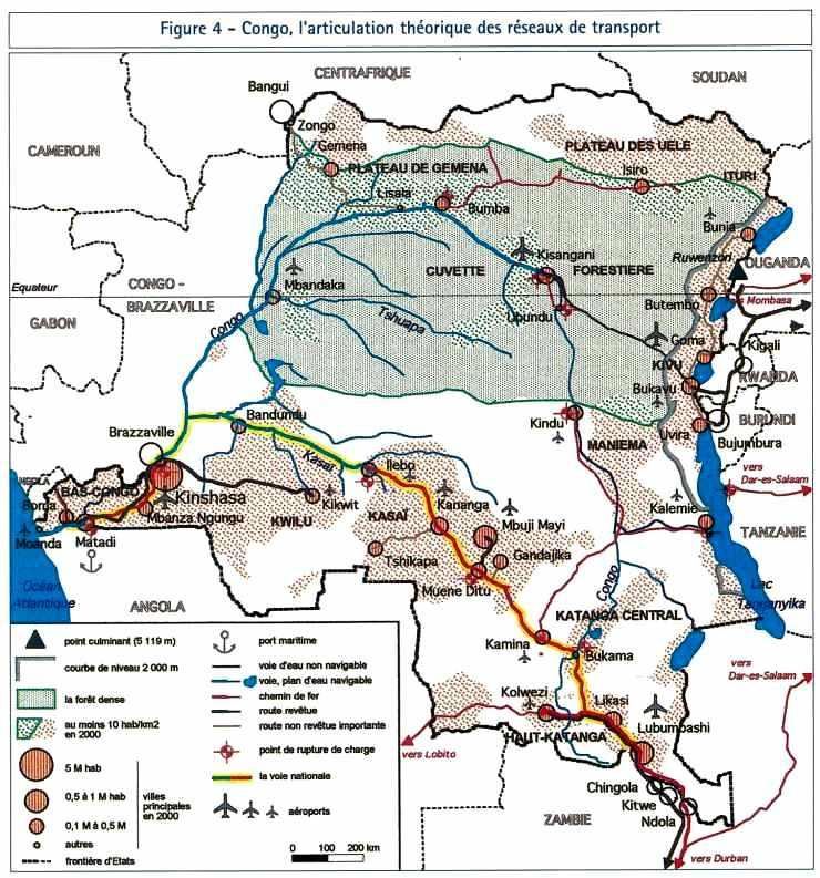 Le Congo, articulation des réseaux de transport