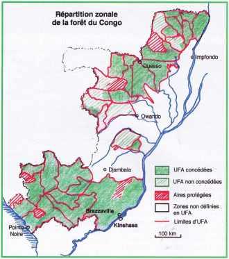 Répartition zonale de la forêt du Congo