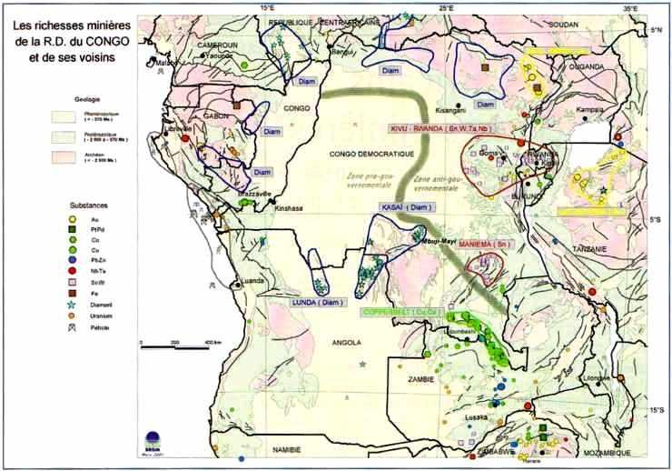 Les richesses minières de la République démocratique du Congo et de ses voisins