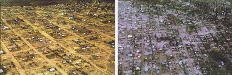 KINSHASA : Vue de deux zones d'extension à des époques différentes de leur remplissage.