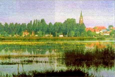 Marais de la Sensée, village d'Écourt-Saint-Quentin. (Pas-de-Calais).