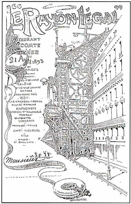 La régularisation de Paris. Dessin de Louis Bonnier. Le rayon légal était le nom d'un dîner
