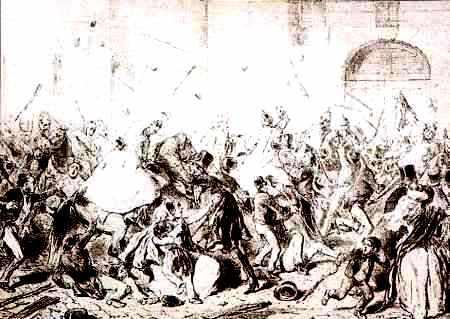 Charge de cavalerie contre le peuple à Vienne pendant les journées de mars 1848.