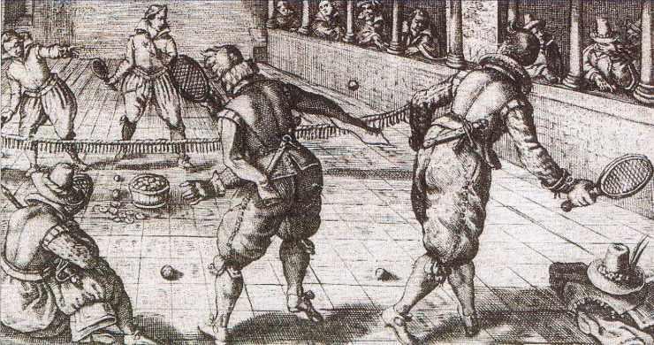 Gentilshommes jouant à la Paume.
