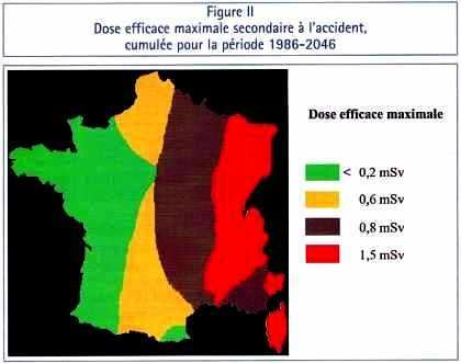 Dose efficace maximale secondaire à l'accident de Tchernobyl en France, cumulée pour la période 1986-2046