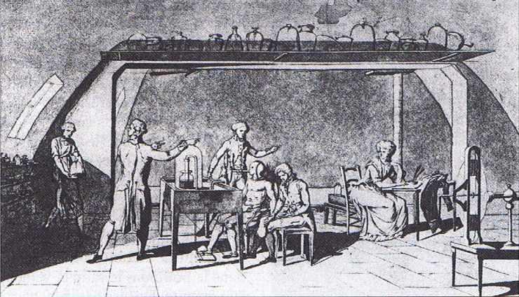 Lavoisier dans son laboratoire : expérience sur la respiration de l'homme exécutant un travail.