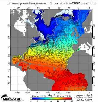 Champ de température en surface. Atlantique Nord
