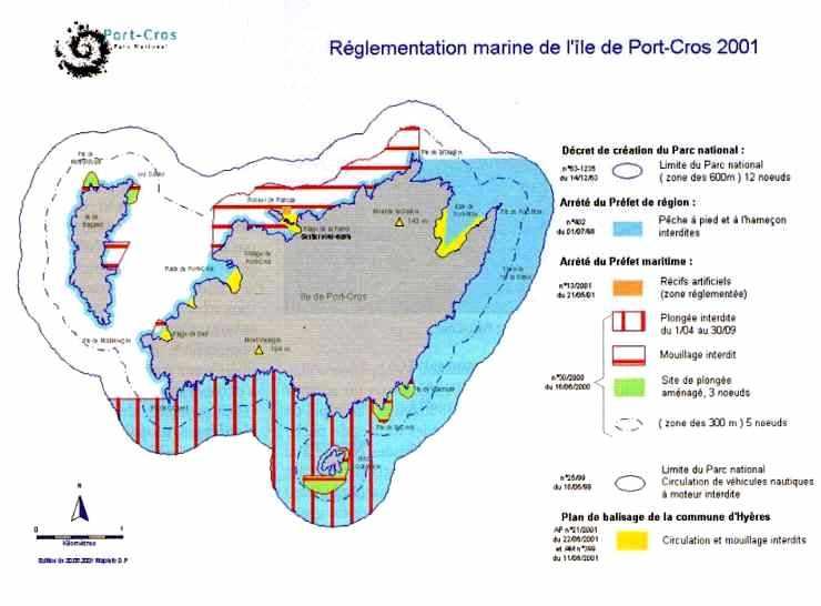 Réglementation marine de l'île de Port-Cros (2001)