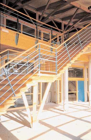 Lycée, construction en bois, de l'Albanais à Rumilly en Haute-Savoie. Architecte : D. Molard.