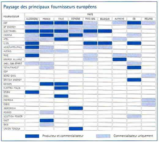 Paysage des principaux fournisseurs européens d'électricité