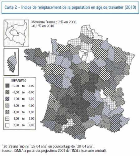 Indice de remplacement de la population en âge de travailler (2010)