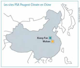 Les sites PSA Peugeot Citroën en Chine