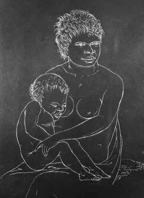 La mère et l'enfant, dessin de Nicolas-Martin Petit. Muséum d'histoire naturelle du Havre.