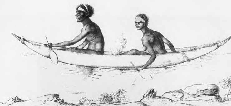 Aborigènes transportant leur feu dans leur canot. Muséum d'histoire naturelle du Havre.