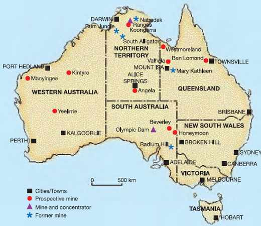 Carte minière d'Australie