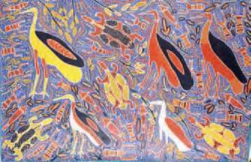 Amy Johnson Jirwulurr, Certains Animaux ont des chants secrets (acrylique sur toile, 1996).