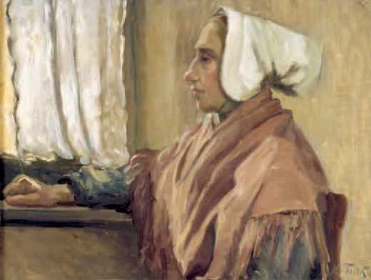 Marie Tuck, Femme de profil (huile sur toile collée sur bois). Le portrait de cette femme est celui d'une Étaploise réalisé lors d'un des séjours de l'artiste en Picardie (1907-8)
