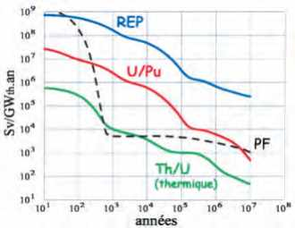 Radiotoxicité R(t) des rejets d'actinides à l'équilibre