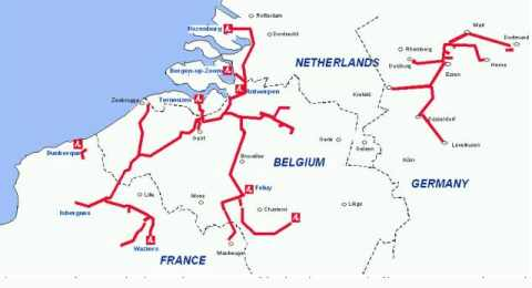 Le plus grand réseau de transport d'hydrogène par pipeline en Europe du Nord, exploité par Air Liquide.