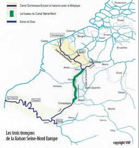 Carte du futur canal de 105 km entre l'Oise et le canal Dunkerque-Escaut