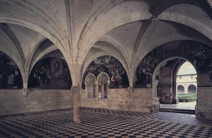 Abbaye royale de Fontevraud, Maine-et-Loire, vue de la salle capitulaire (XVIe siècle),