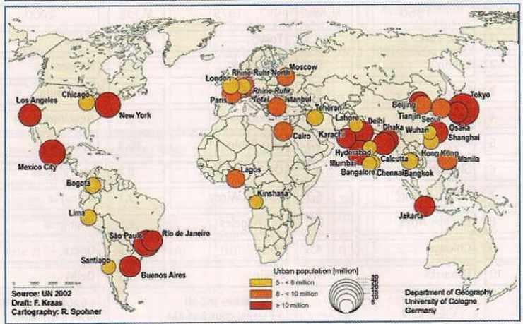 Les plus grandes agglomérations en 2000