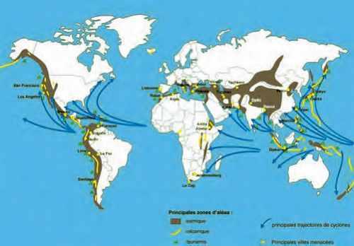 Carte des zones d'aléas sismiques, volcaniques et cycloniques