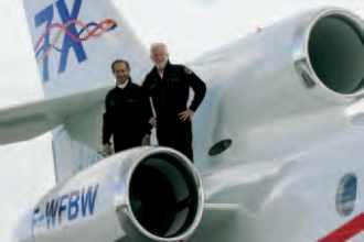 Les pilotes du premier vol du Falcon 7X
