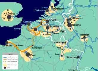 Carte de la liaison Seine-Escaut