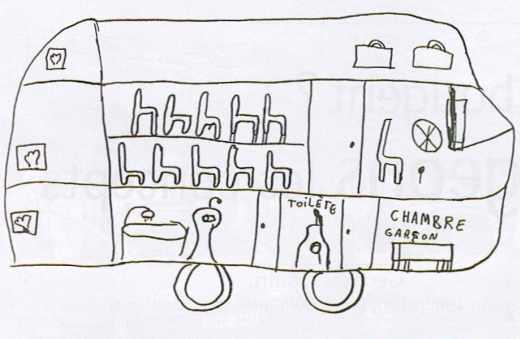 Dessin d'enfant pour un aménagement intérieur de véhicule automobile