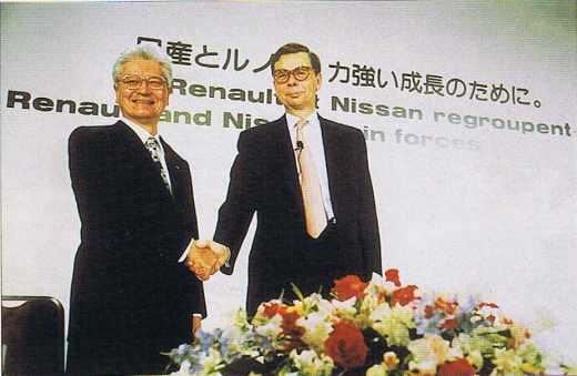 Annonce de l'Alliance Renault-Nissan par L. Schweitzer et Y. Hanawa à Tokyo le 27 mars 1999.