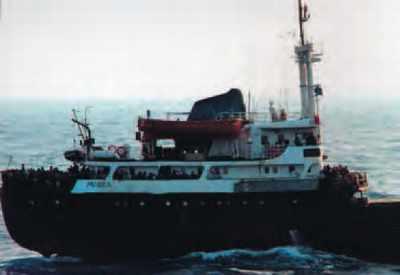 Le cargo Monika, intercepté par la Marine nationale