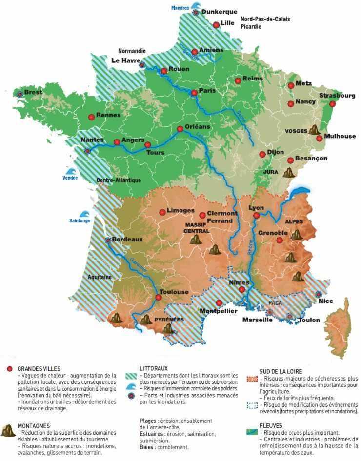 Régions de France pouvant être affectées par le changement climatique