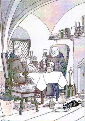 Des moines savourant le vin