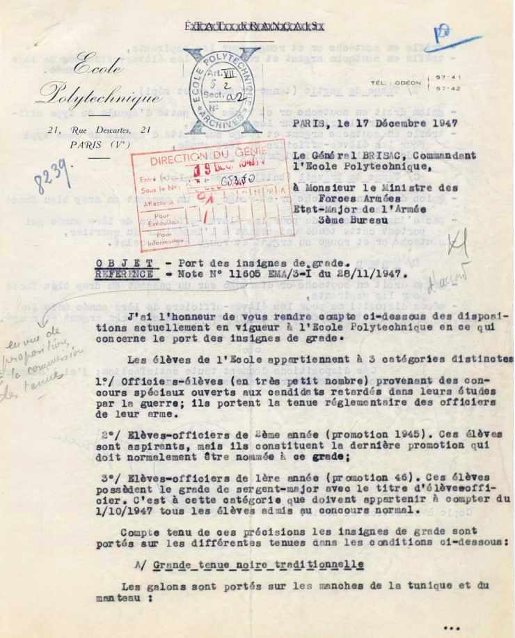 Lettre du général BRISAC sur les uniformes polytechniciens (recto)